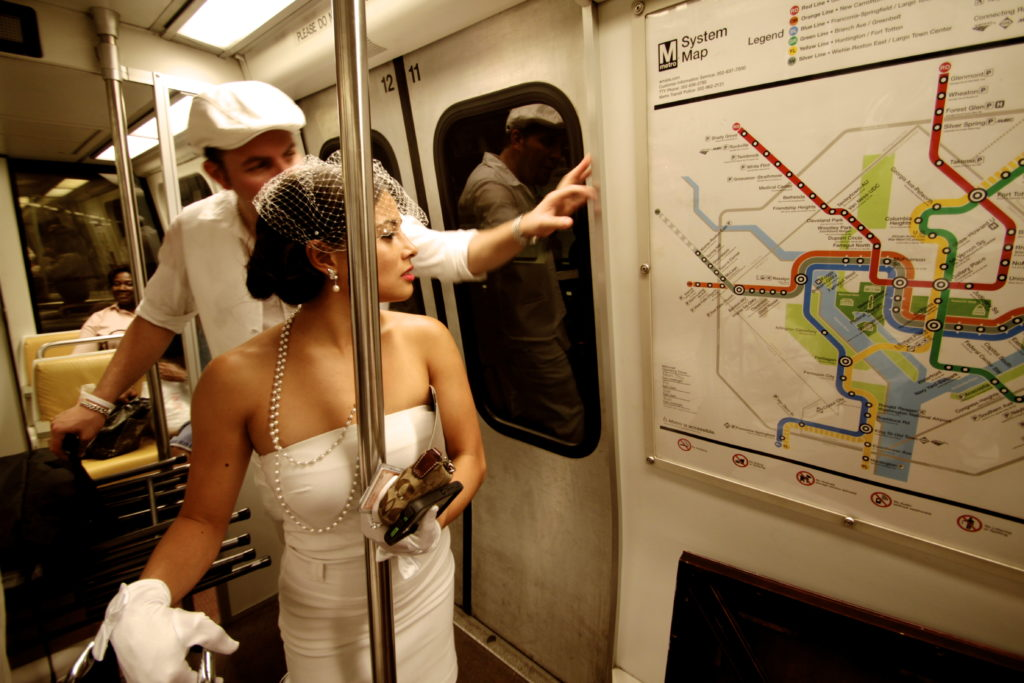 Taking the metro to Dîner en Blanc DC