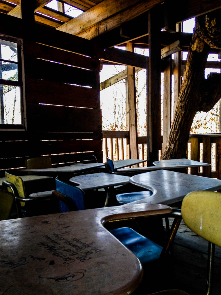 Minister's Treehouse: World's Largest Treehouse. Desks.