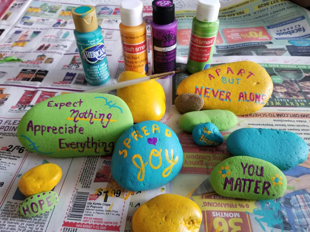 Painting rocks to spread joy microadventure