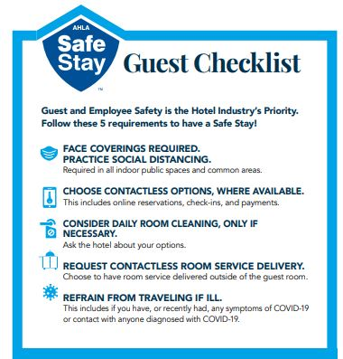 AHLA Guest Checklist; Staying at hotel during COVID-19