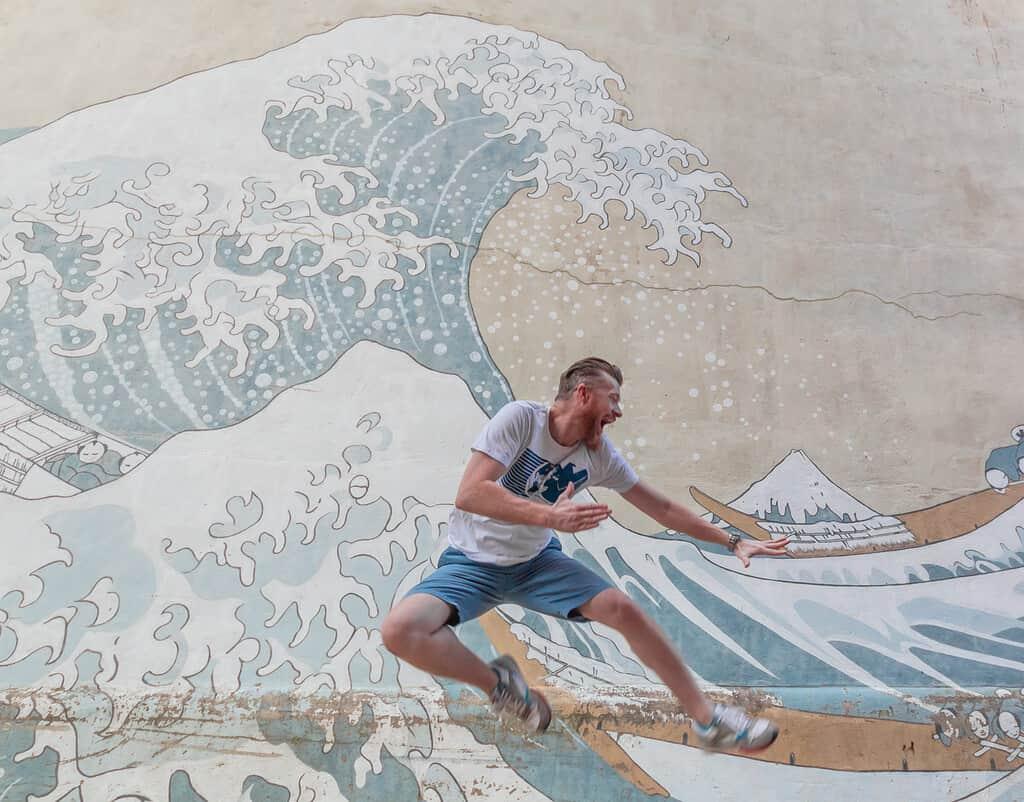 The Great Wave of Kanagawa Georgetown street mural