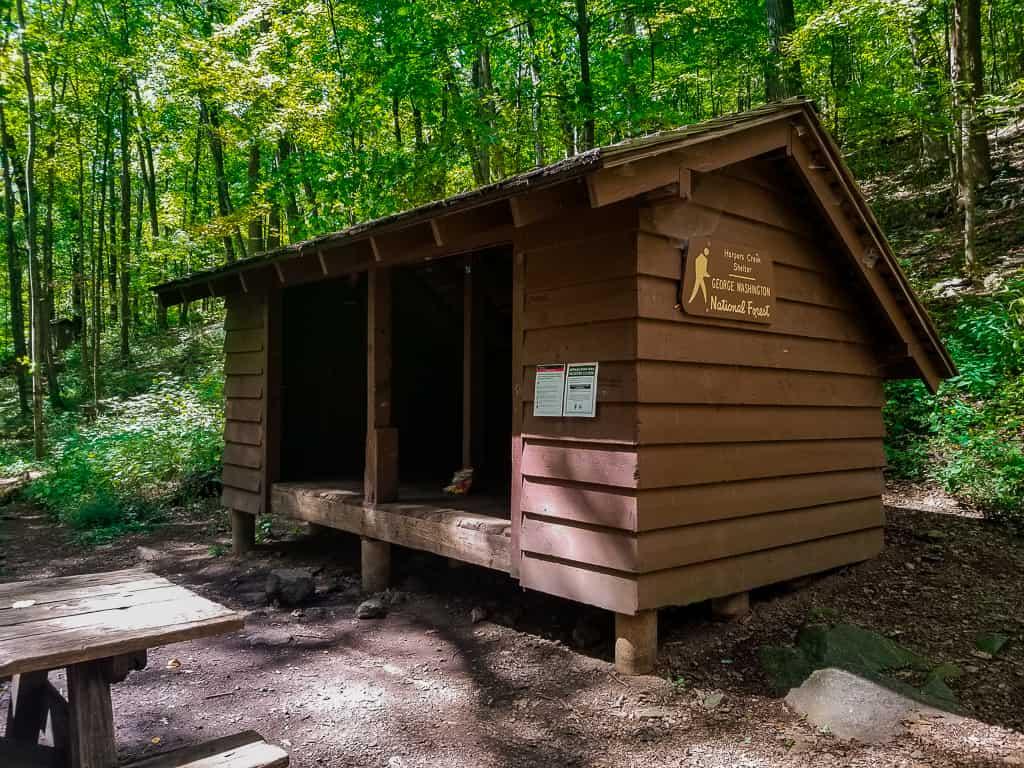 Harpers Creek shelter